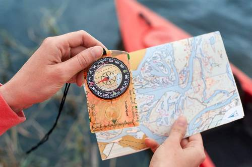 a map and a navigating device