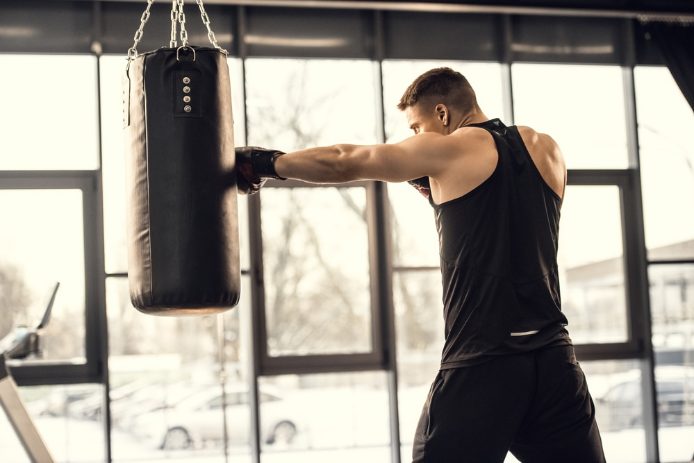 A boxer working out at the gym