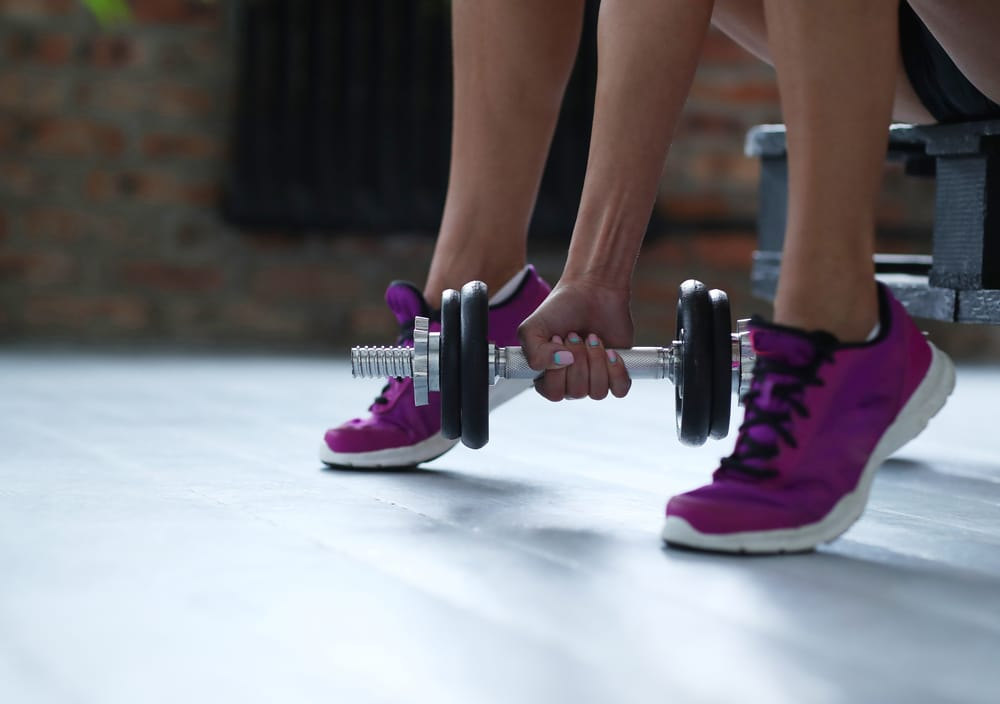 A woman works out at home
